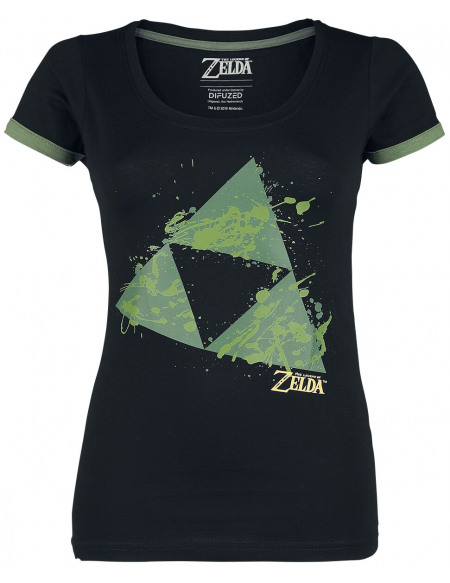 The Legend Of Zelda Triforce - Éclaboussures T-shirt Femme noir/vert
