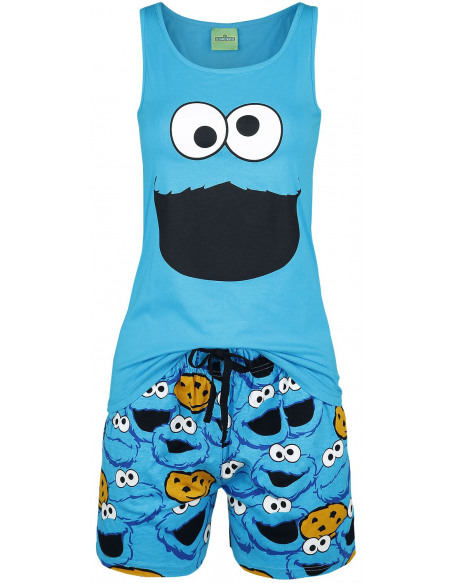 Sesame Street Cookie Monster - Tête Pyjama bleu