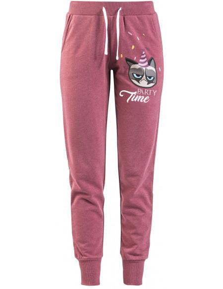 Grumpy Cat Party Time Pantalon de Survêtement Femme bordeaux chiné