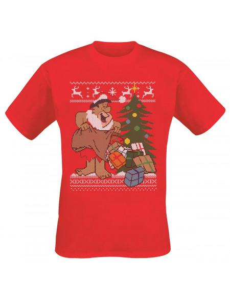 Les Pierrafeu Christmas Fair Isle T-shirt rouge
