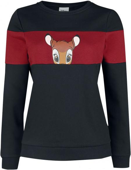 Bambi Lovely Face Sweat-shirt Femme noir/rouge