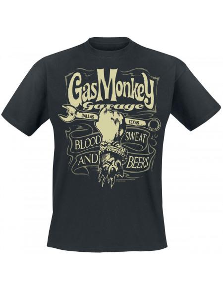 Gas Monkey Garage Garage Wrench Label T-shirt noir