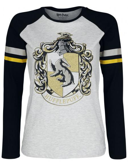 Harry Potter Poufsouffle Haut à manches longues blanc cassé/noir