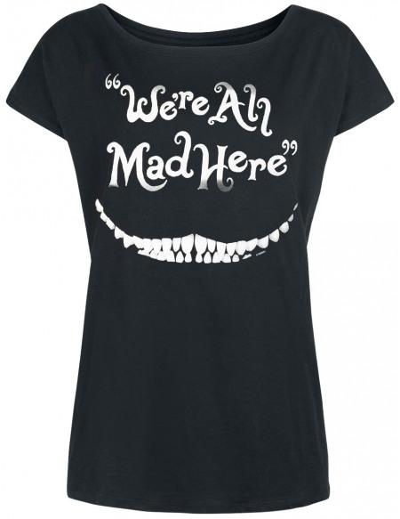 Alice Au Pays Des Merveilles Le Chat Du Cheshire - We're All Mad Here T-shirt Femme noir