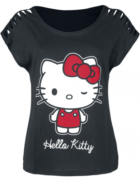 Hello Kitty Nœud T-shirt Femme noir