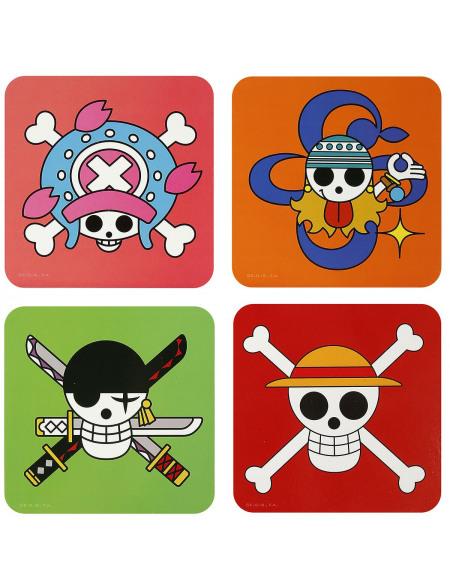 One Piece Crânes Dessous de verre multicolore