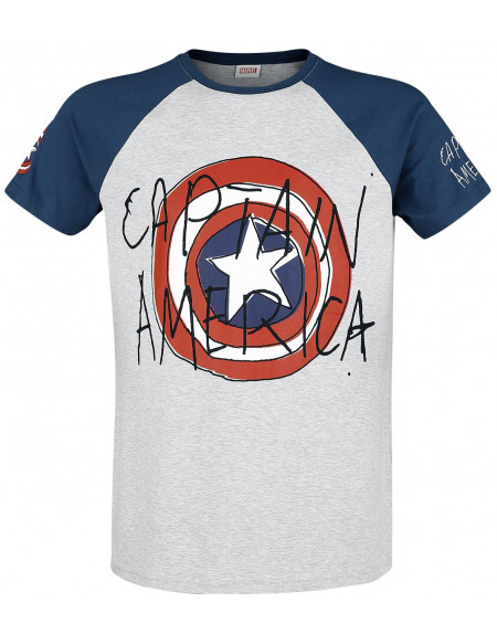 Captain America Comic Art T-shirt effet moucheté gris/bleu