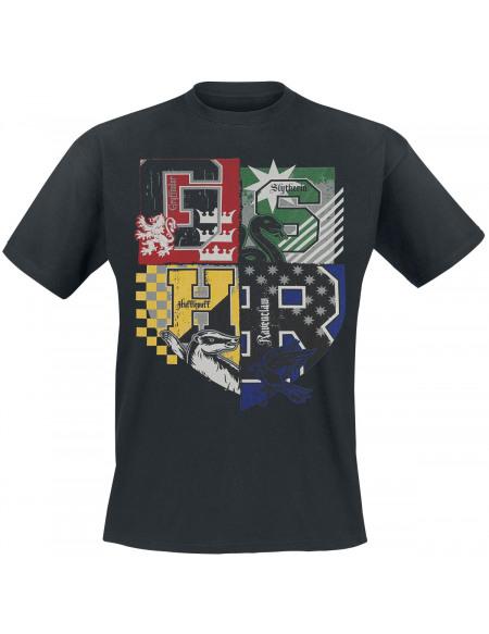 Harry Potter Les Quatres Maisons T-shirt noir