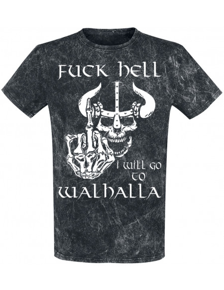Fuck Hell - I Will Go To Walhalla T-shirt gris foncé
