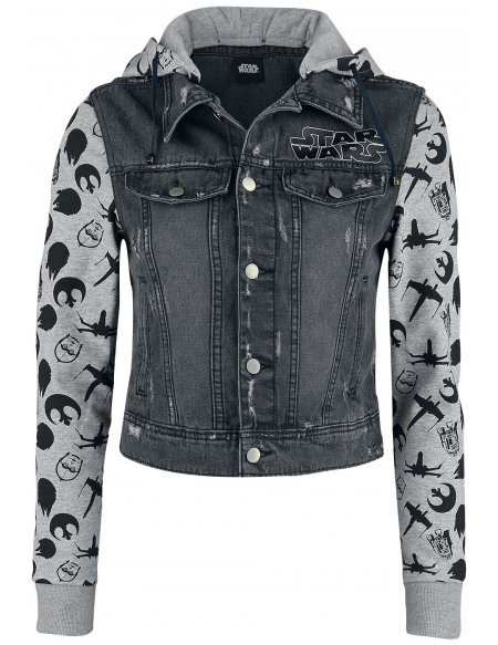 Star Wars May The Force Be With You Veste en Jean Femme noir/gris