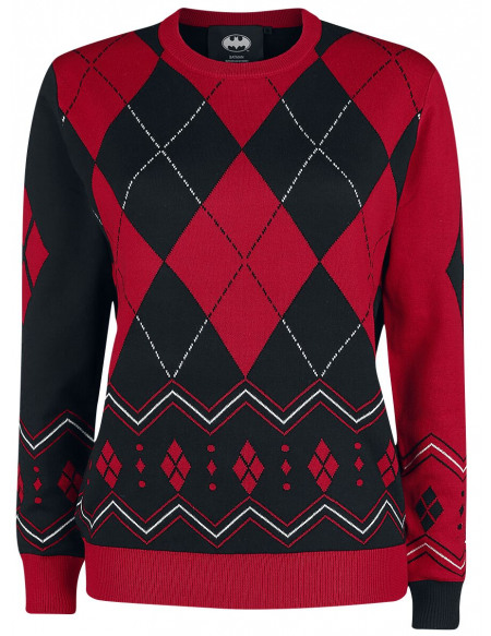 Harley Quinn Diamonds Pull tricoté rouge/noir