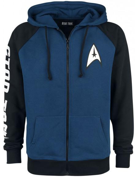 Star Trek NCC-1701-D Sweat Zippé à Capuche bleu/noir