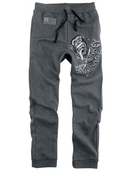 Gas Monkey Garage Logo Gas Monkey Garage Pantalon de Jogging Gris anthracite chiné