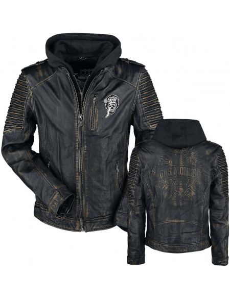 Gas Monkey Garage Logo Gas Monkey Garage Blouson en Cuir noir