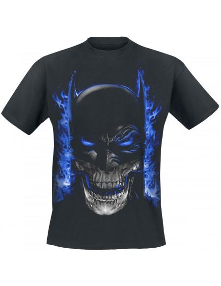 Batman Masque, Crâne et Flammes T-shirt noir