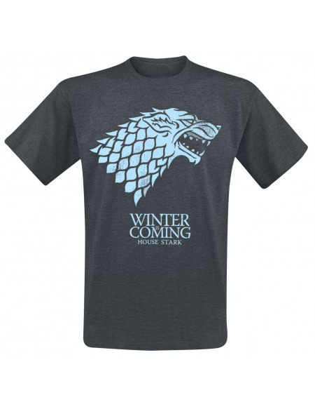 Game Of Thrones Maison Stark - Winter Is Coming T-shirt gris sombre chiné