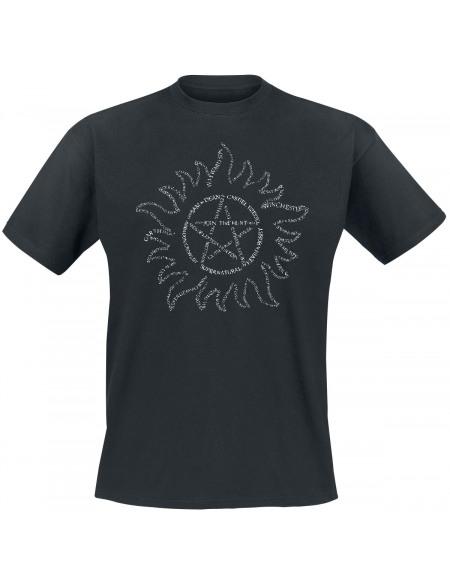 Supernatural Text Symbol T-shirt noir