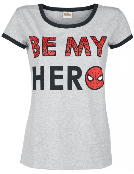 Spider-Man Be My Hero T-shirt Femme gris clair chiné