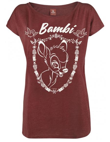 Bambi Blason T-shirt Femme rouge chiné
