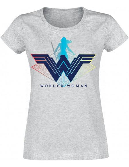 Wonder Woman Logo Guerrière T-shirt Femme gris chiné
