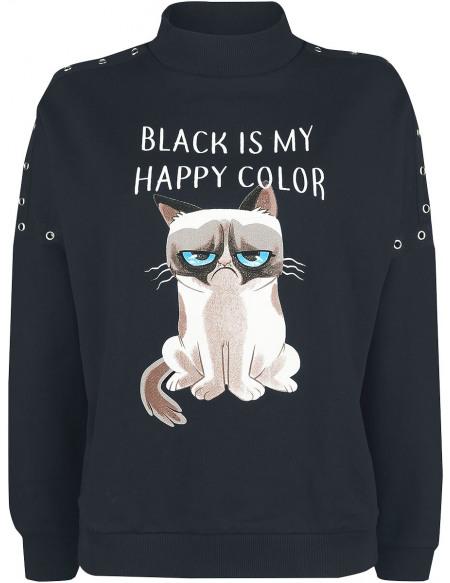 Grumpy Cat Black Is My Happy Color Sweat-shirt Femme noir
