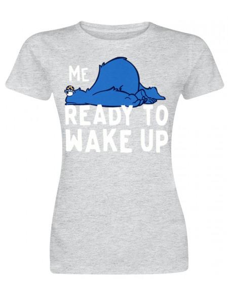 Sesame Street Krümelmonster - Me No Ready To Wake Up T-shirt Femme gris chiné