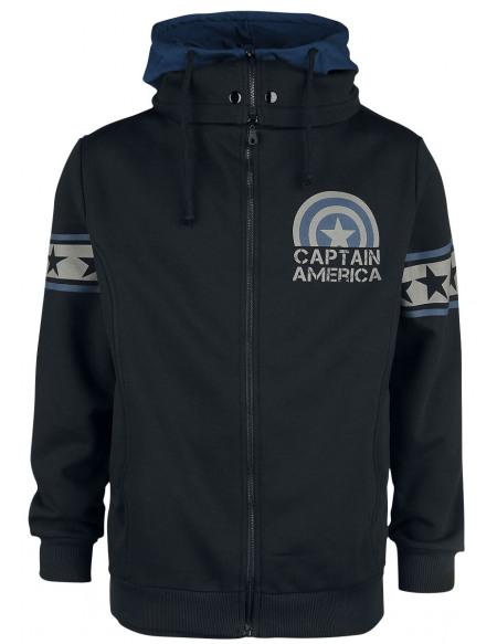 Captain America Soldat Sweat Zippé à Capuche noir/bleu