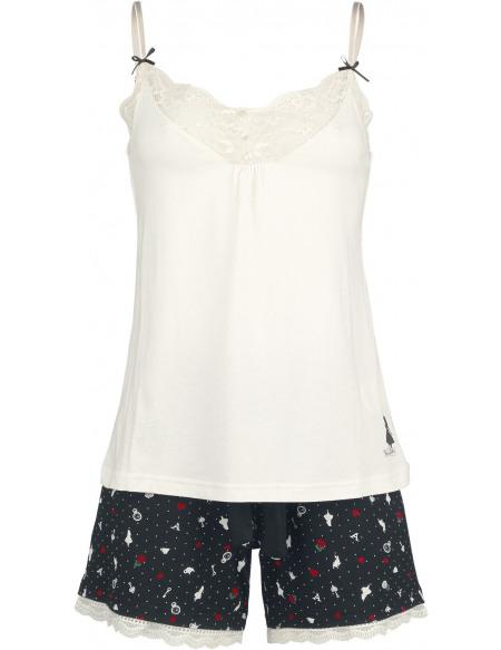 Alice Au Pays Des Merveilles Vive Maria - My Wonderland Pyjama noir/blanc