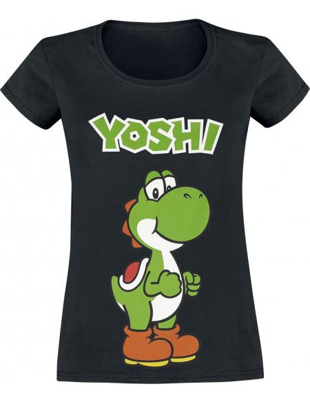 Super Mario Yoshi T-shirt Femme noir