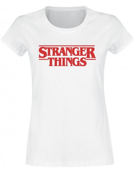 Stranger Things Logo Classique T-shirt Femme blanc