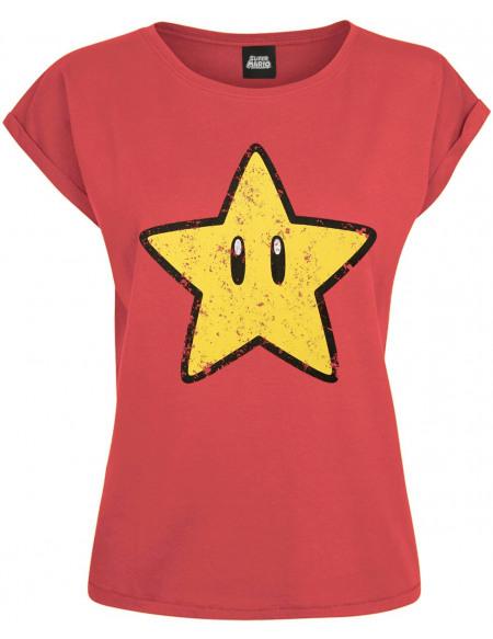 Super Mario Stern T-shirt Femme rouge
