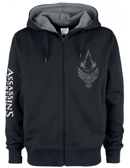 Assassin's Creed Valhalla - Corbeau & Symbole Sweat à capuche noir/gris