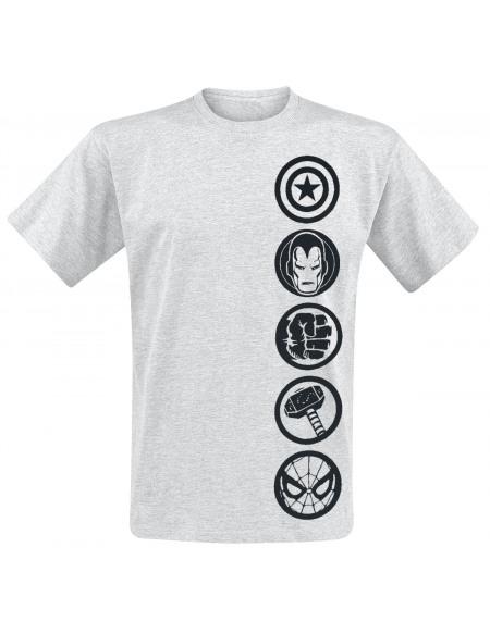 Avengers Logos T-shirt gris clair chiné