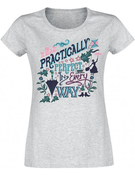 Mary Poppins Practically Perfect T-shirt Femme gris chiné