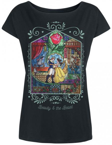 La Belle Et La Bête Rose T-shirt Femme noir