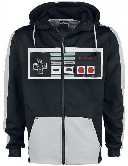 Nintendo NES - Nintendo Entertainment System - Retro Controller Sweat Zippé à Capuche gris