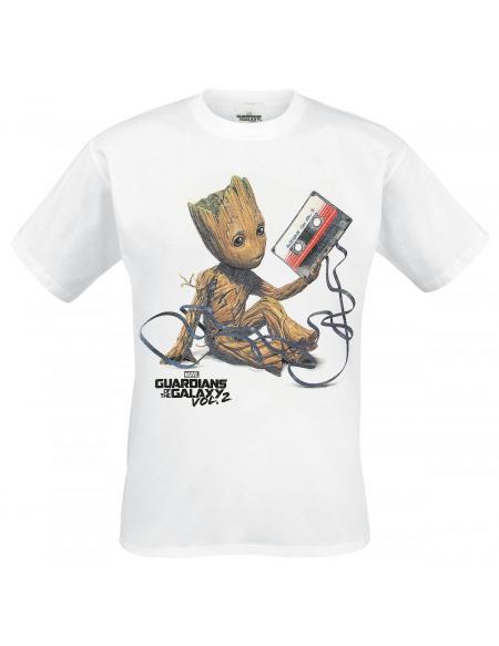 Les Gardiens De La Galaxie Les Gardiens de la Galaxie 2 - Groot & Tape T-shirt blanc
