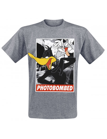 Looney Tunes Photobombed - Daffy Duck T-shirt gris chiné