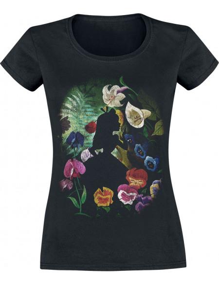Alice Au Pays Des Merveilles Fleur Noire T-shirt Femme noir