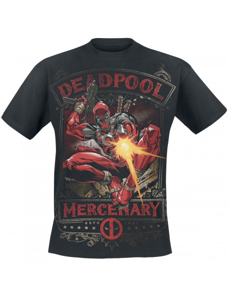 Deadpool Mercenary T-shirt noir
