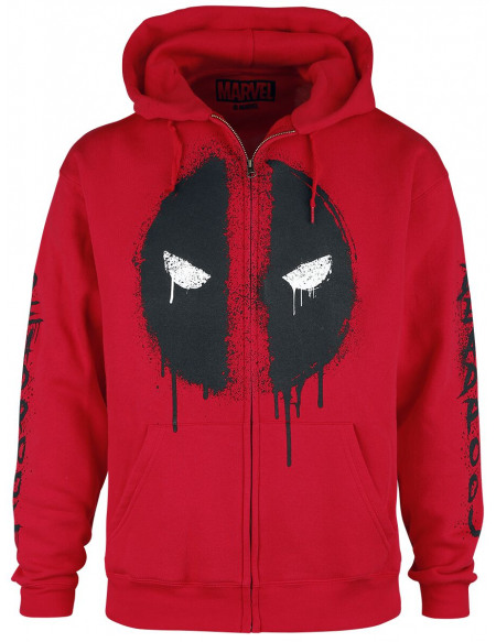 Deadpool Logo Deadpool Sweat Zippé à Capuche rouge