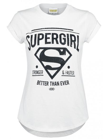 Supergirl Stronger & Faster T-shirt Femme blanc