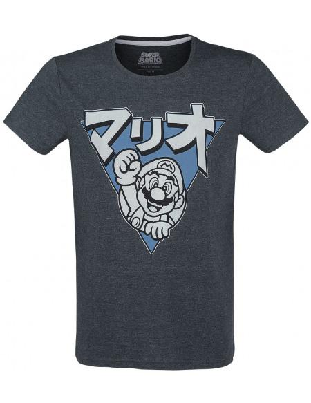 Super Mario Mario - Japanese Triangle T-shirt bleu chiné