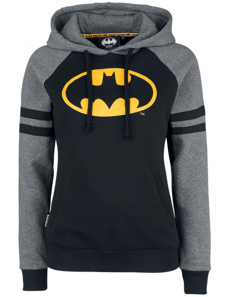 Batman Bat-Logo Sweat à Capuche Femme noir/jaune