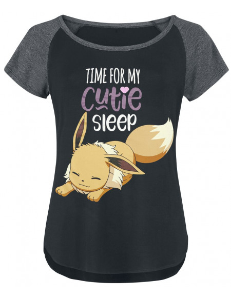 Pokémon Evoli - Time For My Cutie Sleep T-shirt Femme noir/anthracite chiné