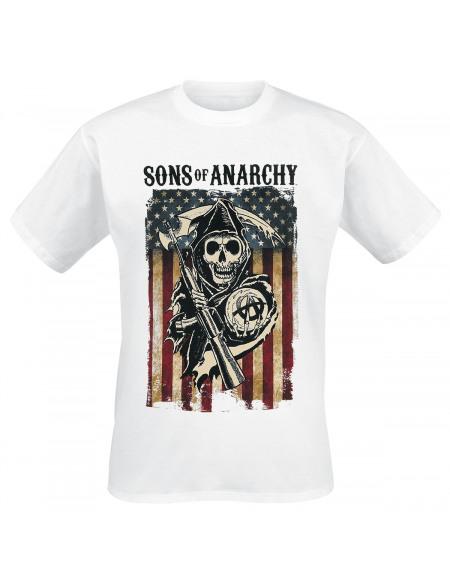 Sons Of Anarchy Flag Logo T-shirt blanc