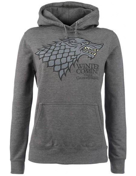 Game Of Thrones Maison Stark - Winter Is Coming Sweat à Capuche Femme gris chiné