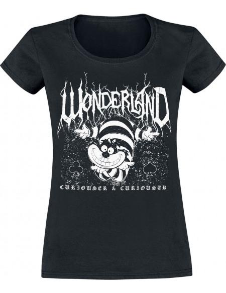 Alice Au Pays Des Merveilles Le Chat Du Cheshire - Metal Wonderland T-shirt Femme noir
