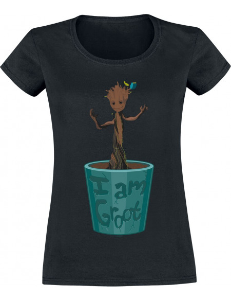 Les Gardiens De La Galaxie Pot De Fleur Groot T-shirt Femme noir