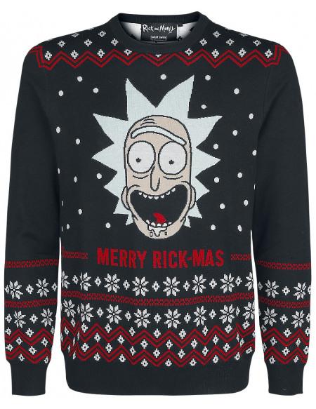 Rick & Morty Merry Rick Mas Pull tricoté noir